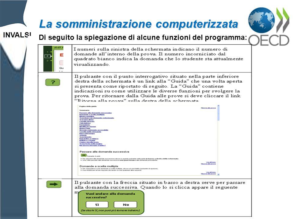 INVALSI La somministrazione computerizzata Di seguito la spiegazione di alcune funzioni del programma:
