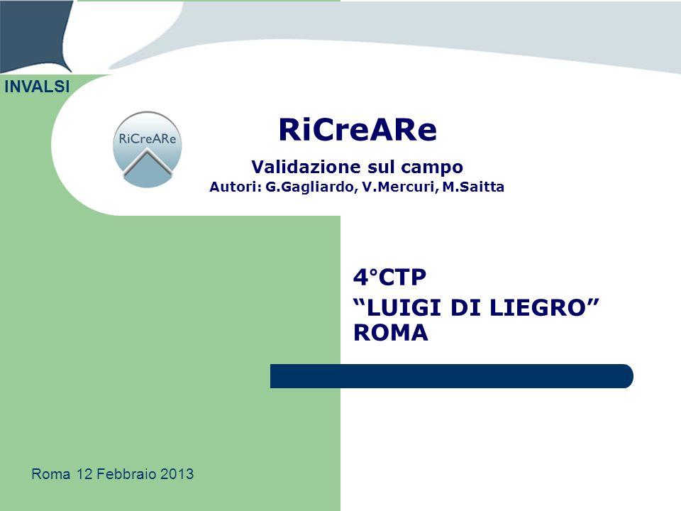 RiCreARe Validazione sul campo Autori: G.Gagliardo, V.Mercuri, M.Saitta 4°CTP LUIGI DI LIEGRO ROMA INVALSI Roma 12 Febbraio 2013