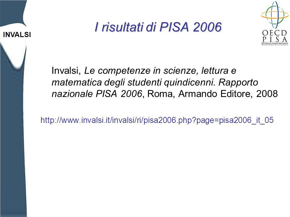 INVALSI I risultati di PISA 2006 Invalsi, Le competenze in scienze, lettura e matematica degli studenti quindicenni.
