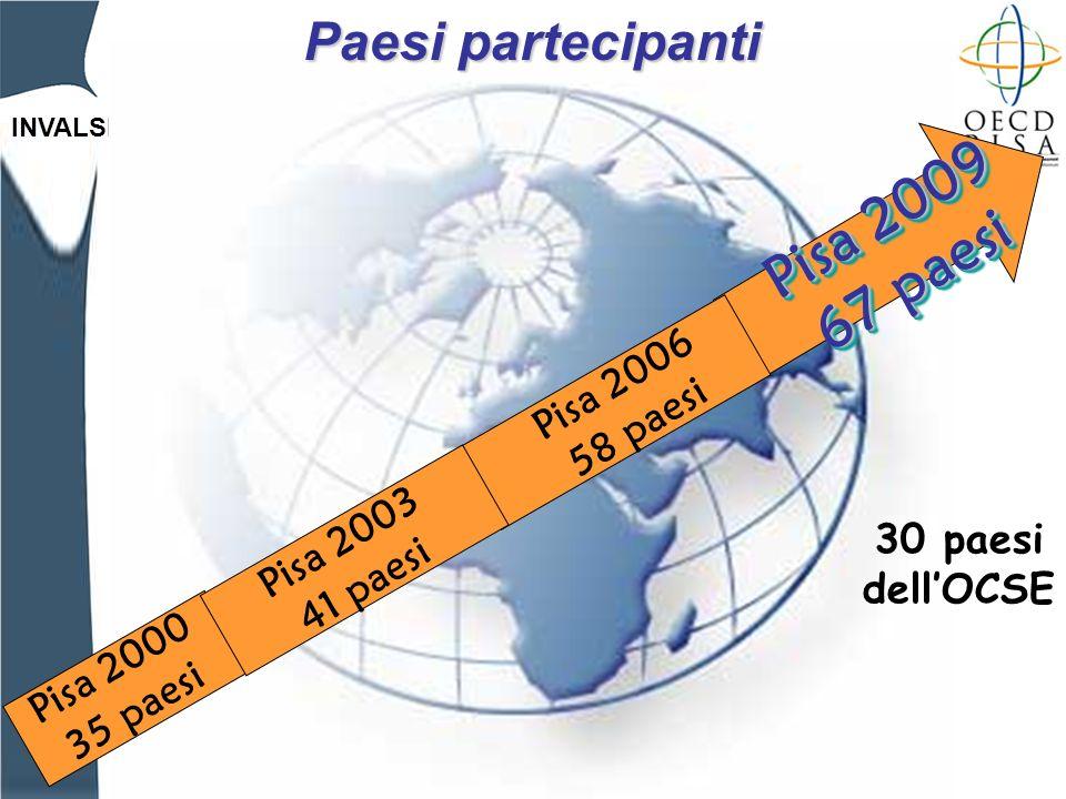INVALSI Paesi partecipanti Pisa 2000 35 paesi Pisa 2009 67 paesi Pisa 2009 67 paesi 30 paesi dellOCSE Pisa 2003 41 paesi Pisa 2006 58 paesi