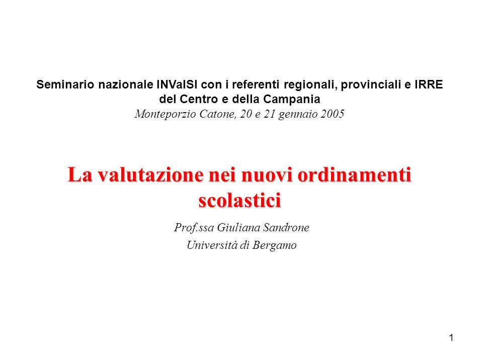 1 Prof.ssa Giuliana Sandrone Università di Bergamo Seminario nazionale INValSI con i referenti regionali, provinciali e IRRE del Centro e della Campan