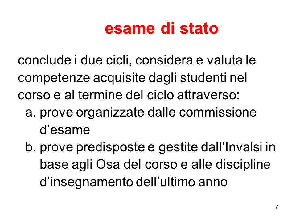 7 esame di stato conclude i due cicli, considera e valuta le competenze acquisite dagli studenti nel corso e al termine del ciclo attraverso: a. prove