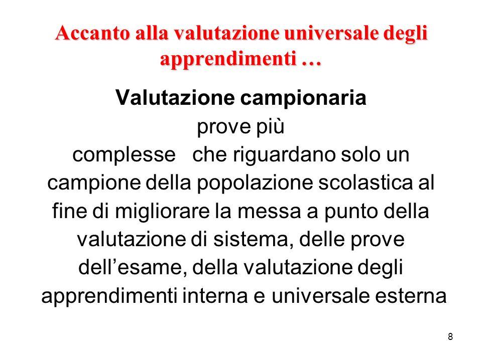 8 Accanto alla valutazione universale degli apprendimenti … Valutazione campionaria prove più complesse che riguardano solo un campione della popolazi