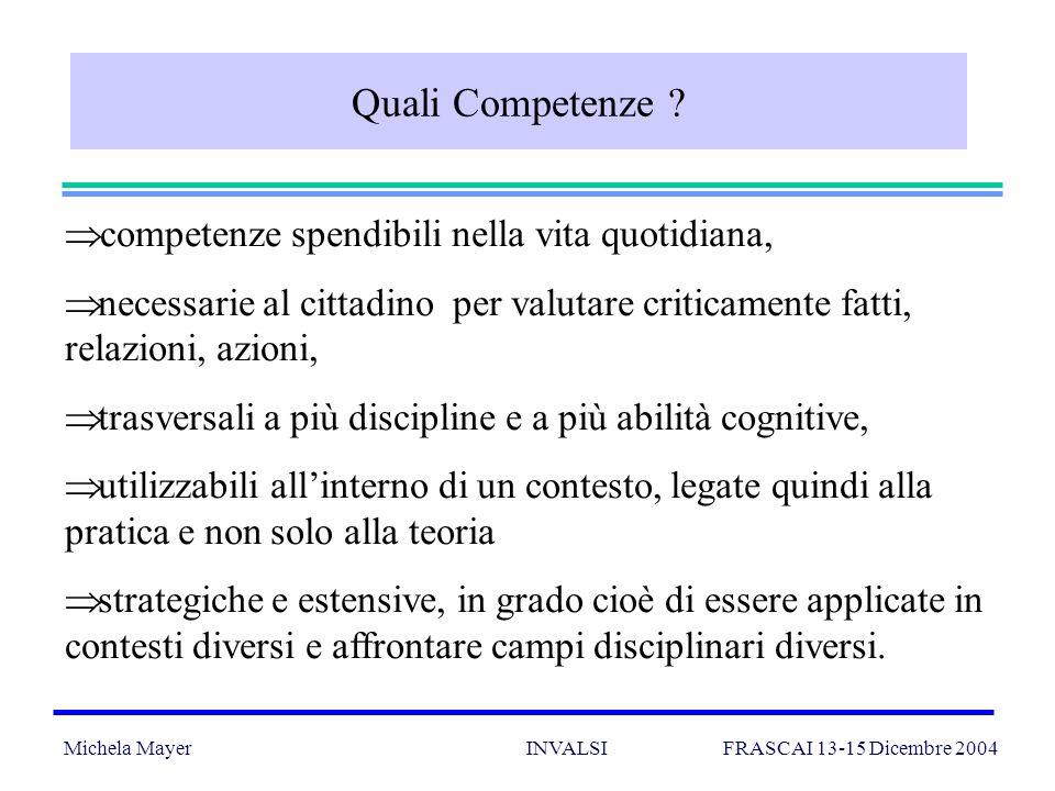 Michela Mayer INVALSI FRASCAI 13-15 Dicembre 2004 22 Quali Competenze .