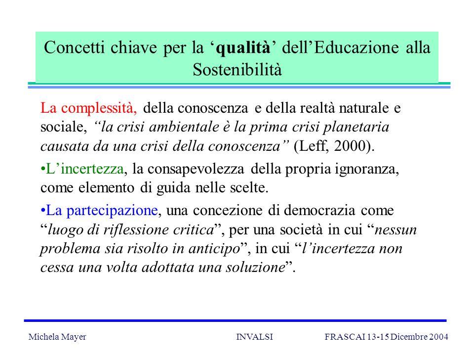 Michela Mayer INVALSI FRASCAI 13-15 Dicembre 2004 4 Concetti chiave per la qualità dellEducazione alla Sostenibilità La complessità, della conoscenza e della realtà naturale e sociale, la crisi ambientale è la prima crisi planetaria causata da una crisi della conoscenza (Leff, 2000).
