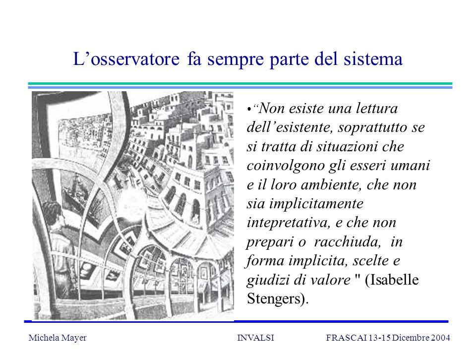 Michela Mayer INVALSI FRASCAI 13-15 Dicembre 2004 17 I paradigmi: le idee (implicite) che guidano la valutazione POSITIVISTA: la realtà è oggettiva e può essere conosciuta e controllata; la valutazione è una misura; gli obiettivi possono e devono essere predefiniti.