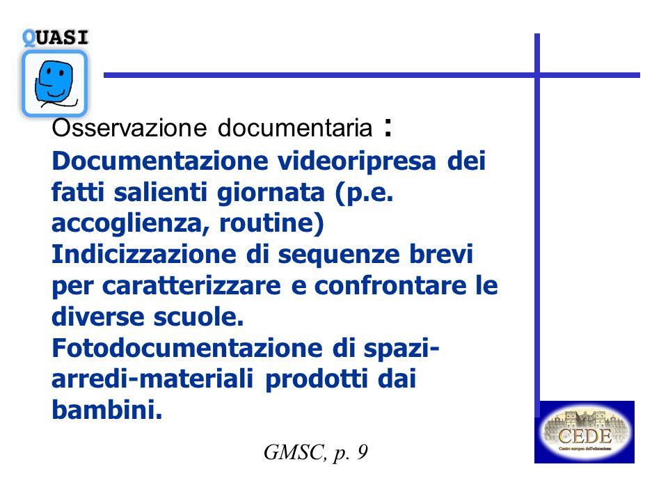 GMSC, p. 9 Osservazione documentaria : Documentazione videoripresa dei fatti salienti giornata (p.e. accoglienza, routine) Indicizzazione di sequenze