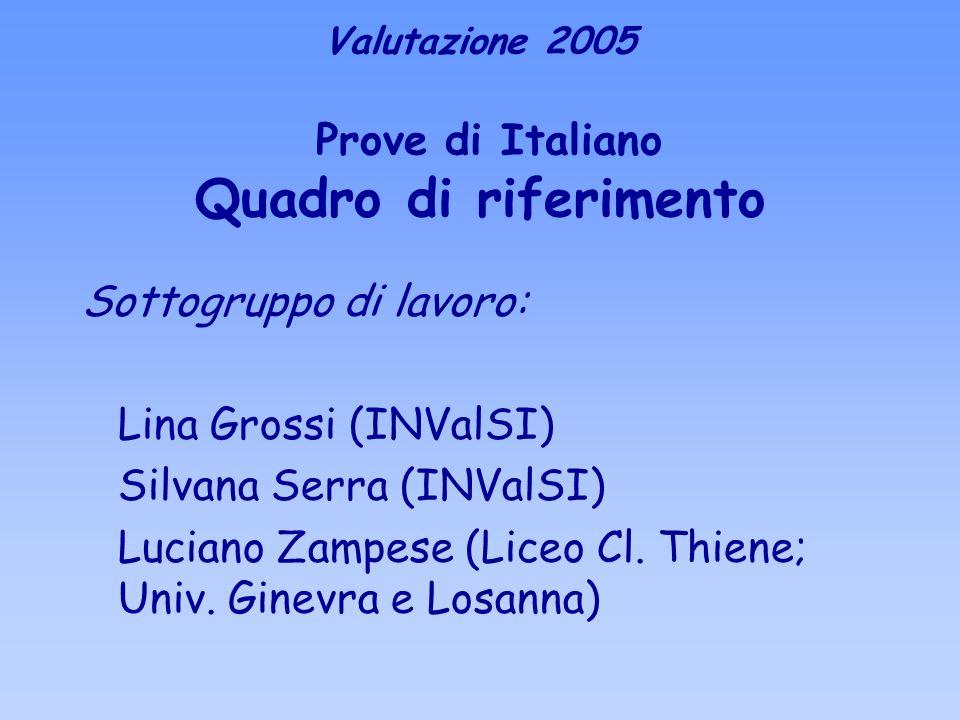 Sottogruppo di lavoro: Lina Grossi (INValSI) Silvana Serra (INValSI) Luciano Zampese (Liceo Cl. Thiene; Univ. Ginevra e Losanna) Valutazione 2005 Prov