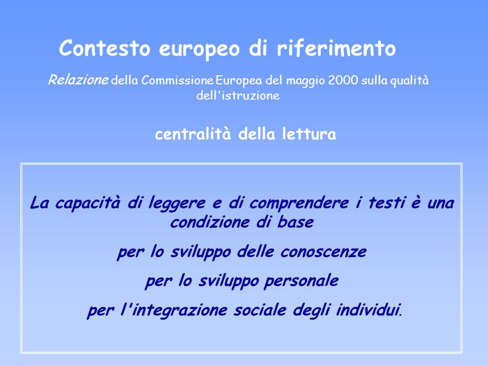Contesto europeo di riferimento Relazione della Commissione Europea del maggio 2000 sulla qualità dell'istruzione La capacità di leggere e di comprend