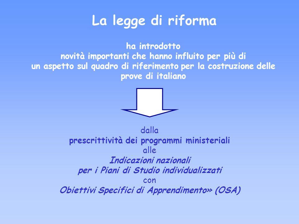 ha introdotto novità importanti che hanno influito per più di un aspetto sul quadro di riferimento per la costruzione delle prove di italiano La legge