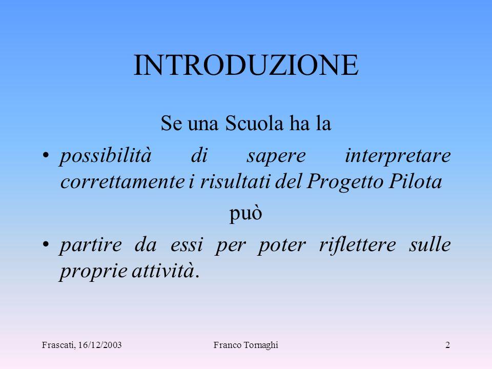 Frascati, 16/12/2003Franco Tornaghi1 SEMINARIO NAZIONALE INVALSI 16-17 dicembre 2003 Intervento del prof.