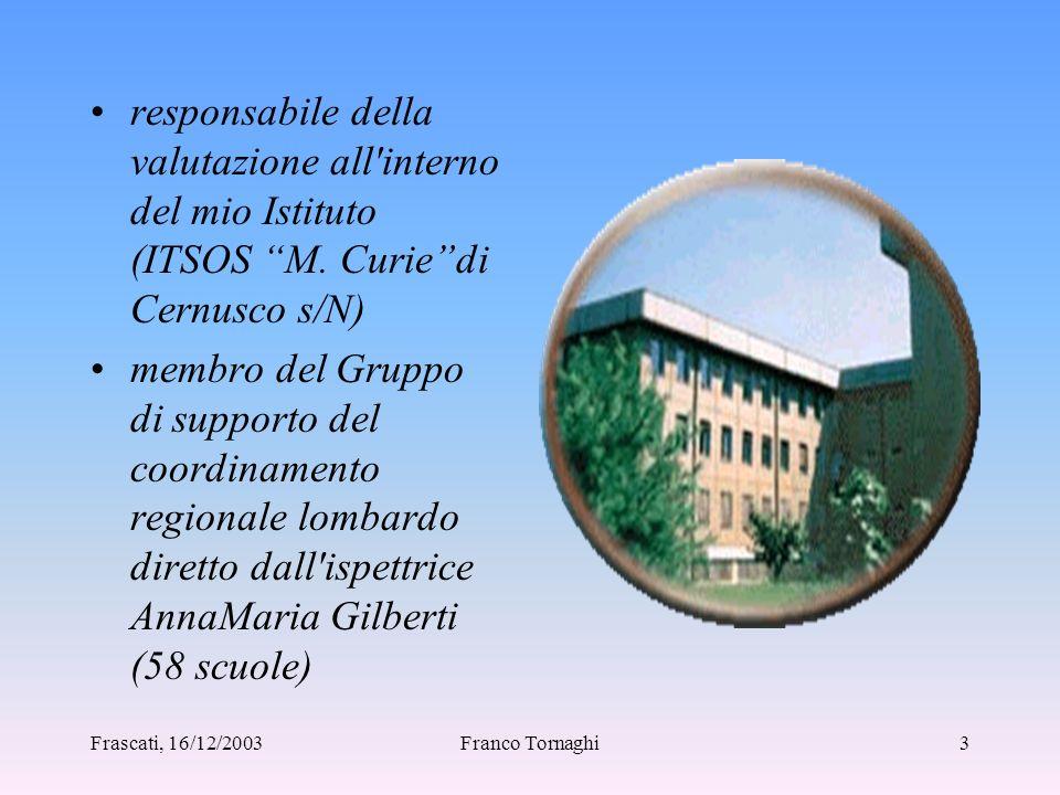 Frascati, 16/12/2003Franco Tornaghi2 INTRODUZIONE Se una Scuola ha la possibilità di sapere interpretare correttamente i risultati del Progetto Pilota può partire da essi per poter riflettere sulle proprie attività.