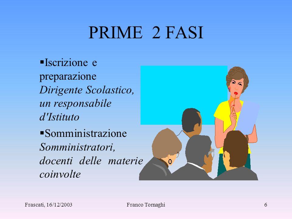 Frascati, 16/12/2003Franco Tornaghi5 L'ACQUISIZIONE DEI DATI DEL PROGETTO PILOTA Per una scuola l'impegno col Progetto Pilota può essere suddiviso in