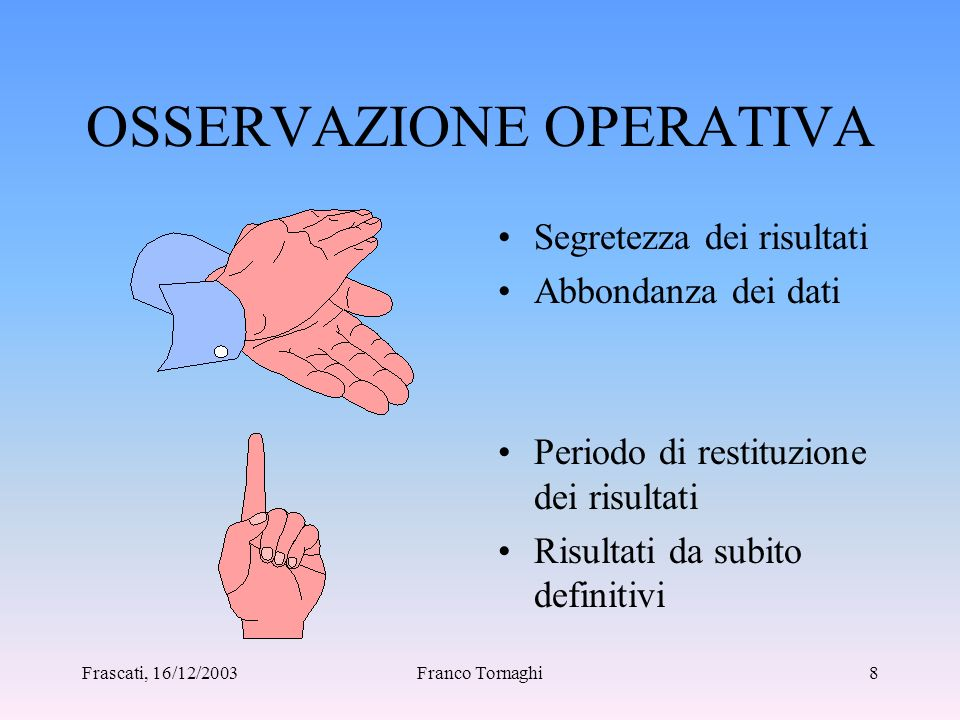 Frascati, 16/12/2003Franco Tornaghi7 ULTIME 2 FASI Acquisizione dei risultati Responsabile del Progetto Pilota Analisi dei risultati Tutte le persone