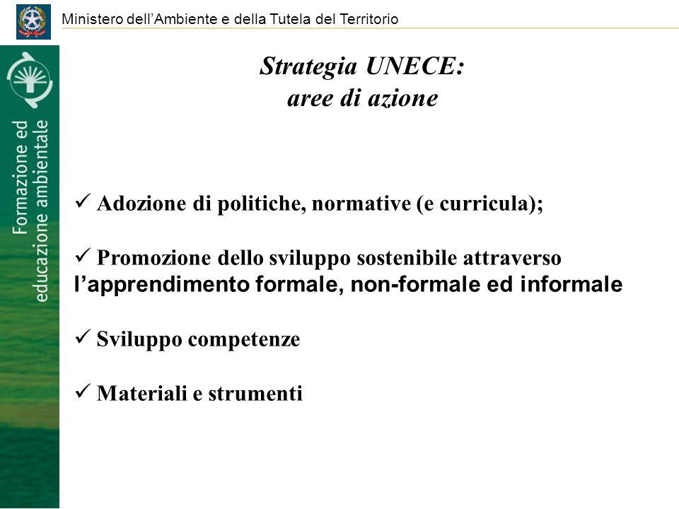 Ministero dellAmbiente e della Tutela del Territorio Strategia UNECE: aree di azione Adozione di politiche, normative (e curricula); Promozione dello