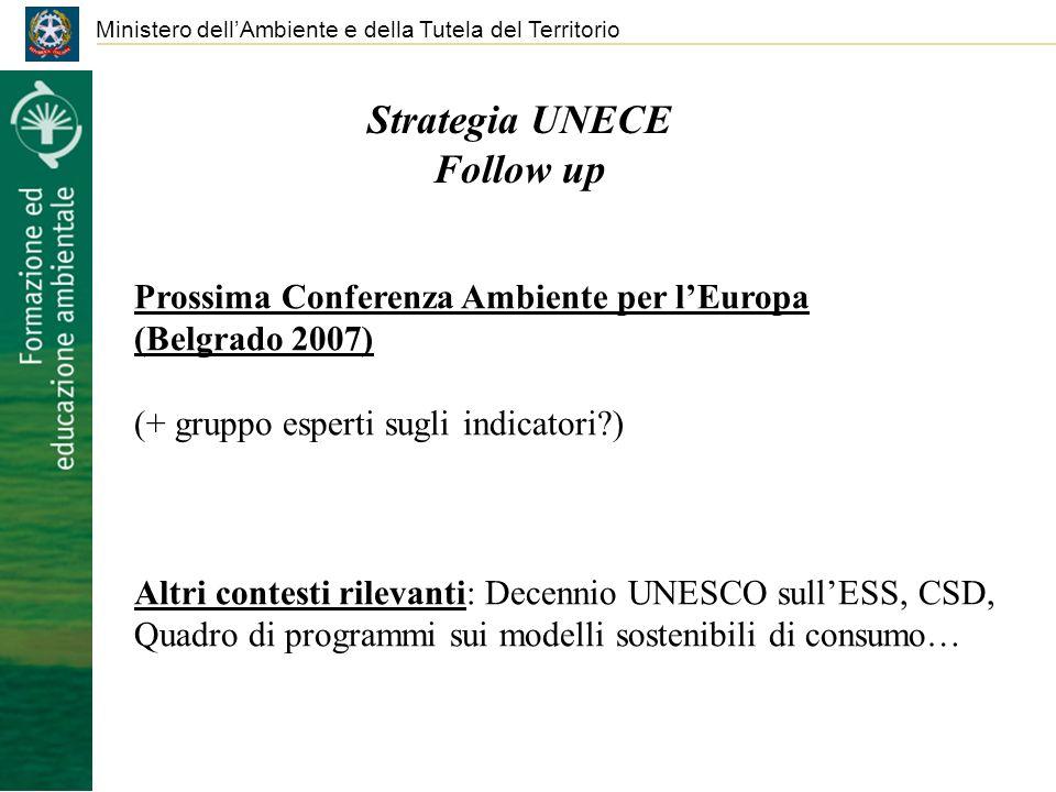 Ministero dellAmbiente e della Tutela del Territorio Strategia UNECE Follow up Prossima Conferenza Ambiente per lEuropa (Belgrado 2007) (+ gruppo espe