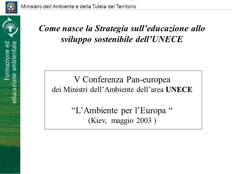 Ministero dellAmbiente e della Tutela del Territorio Come nasce la Strategia sulleducazione allo sviluppo sostenibile dellUNECE V Conferenza Pan-europea UNECE dei Ministri dellAmbiente dellarea UNECE LAmbiente per lEuropa (Kiev, maggio 2003 )