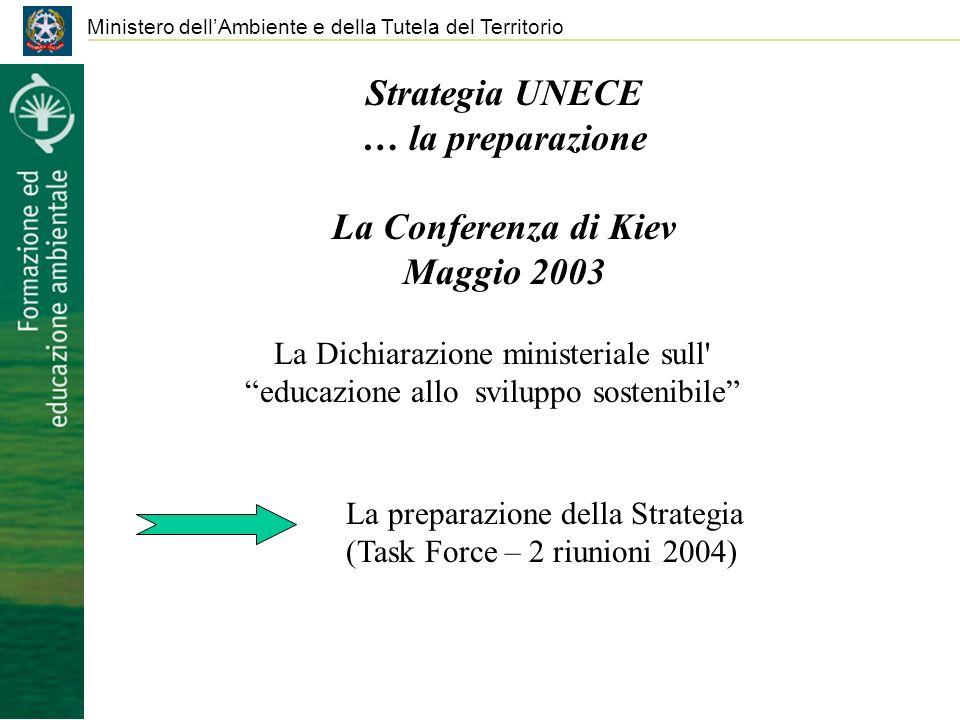Ministero dellAmbiente e della Tutela del Territorio Strategia UNECE … la preparazione La Conferenza di Kiev Maggio 2003 La Dichiarazione ministeriale