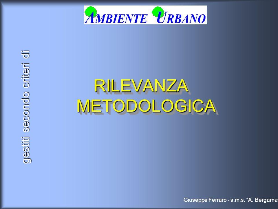 gestiti secondo criteri di RILEVANZA METODOLOGICA Giuseppe Ferraro - s.m.s. A. Bergamas
