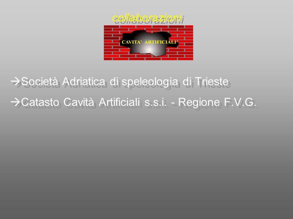 Società Adriatica di speleologia di Trieste Catasto Cavità Artificiali s.s.i. - Regione F.V.G. Società Adriatica di speleologia di Trieste Catasto Cav