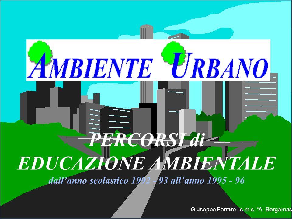 PERCORSI di EDUCAZIONE AMBIENTALE dallanno scolastico 1992 - 93 allanno 1995 - 96 Giuseppe Ferraro - s.m.s. A. Bergamas
