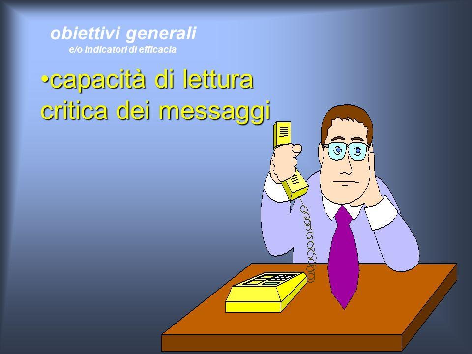 obiettivi generali e/o indicatori di efficacia capacità di lettura critica dei messaggicapacità di lettura critica dei messaggi