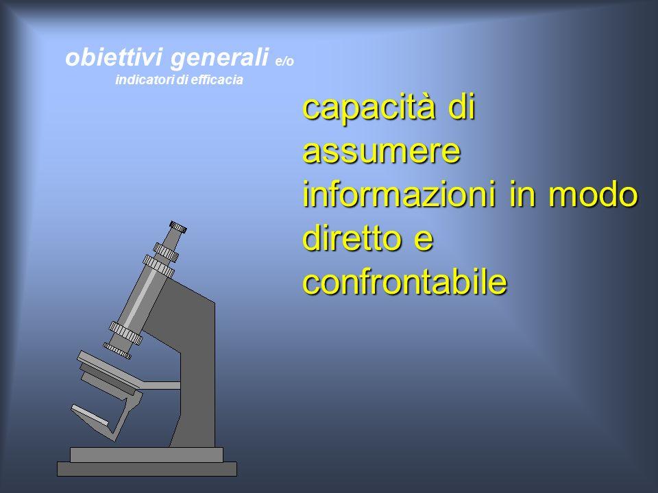 obiettivi generali e/o indicatori di efficacia capacità di assumere informazioni in modo diretto e confrontabile