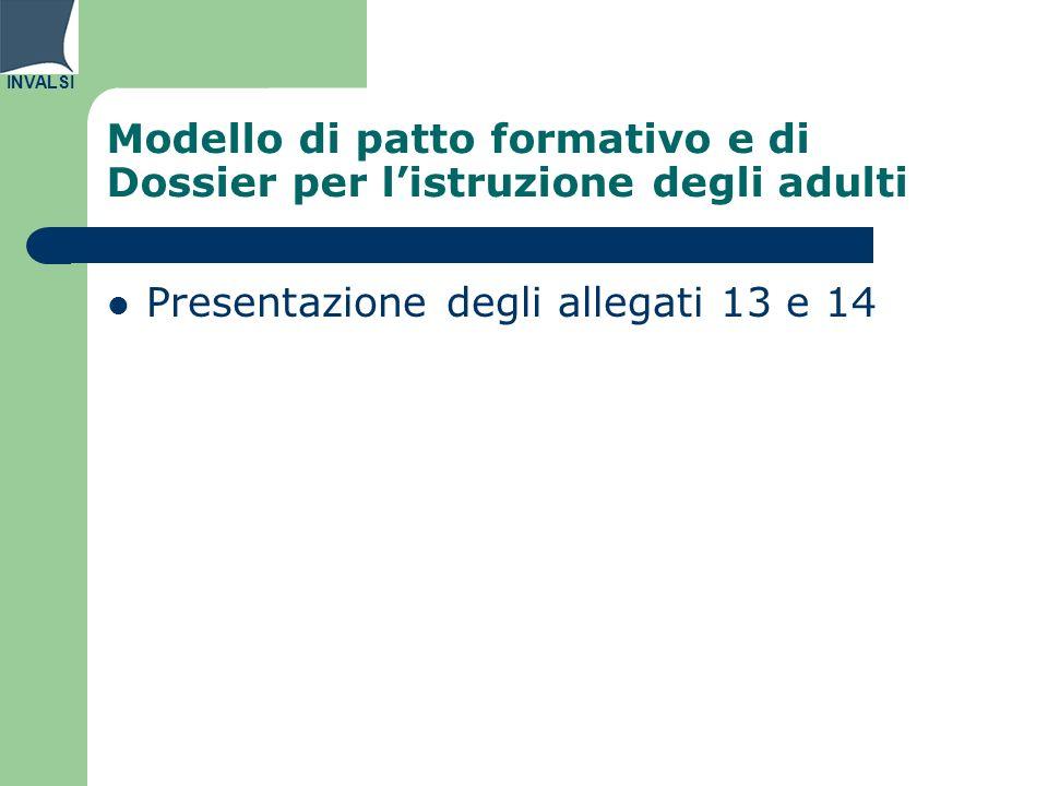 INVALSI Modello di patto formativo e di Dossier per listruzione degli adulti Presentazione degli allegati 13 e 14