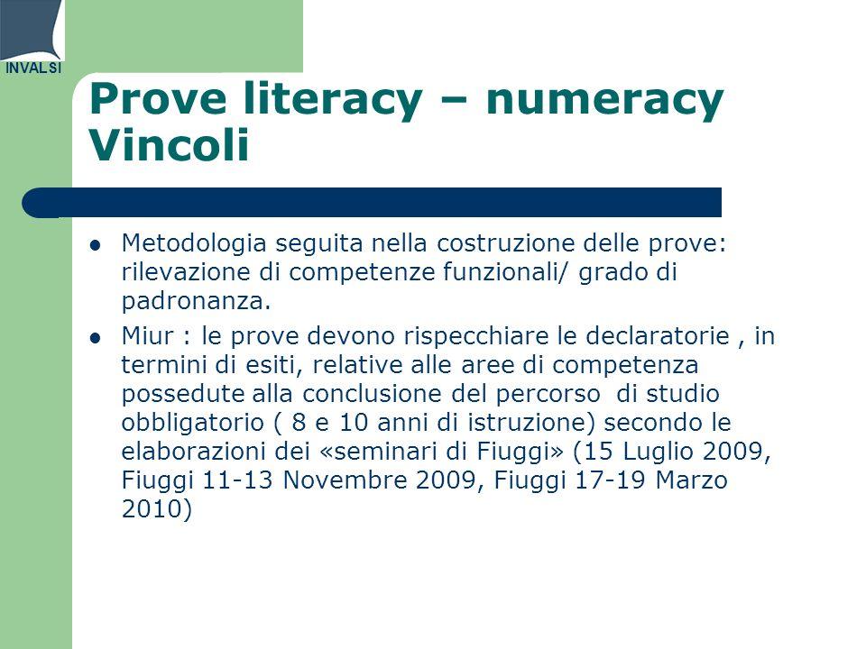 INVALSI Prove literacy – numeracy Vincoli Metodologia seguita nella costruzione delle prove: rilevazione di competenze funzionali/ grado di padronanza