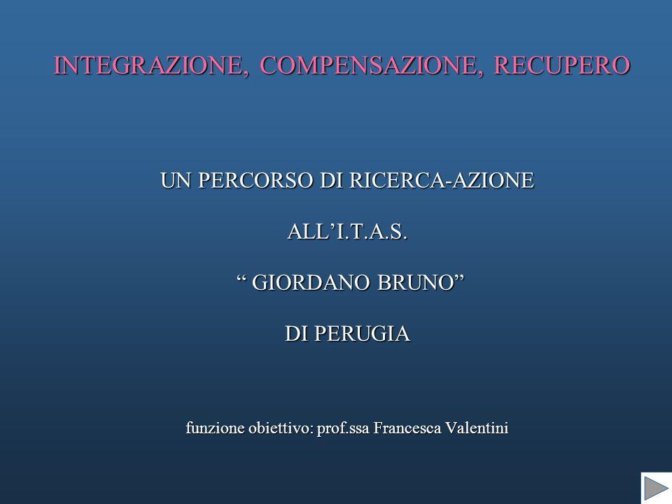 INTEGRAZIONE, COMPENSAZIONE, RECUPERO UN PERCORSO DI RICERCA-AZIONE ALLI.T.A.S.