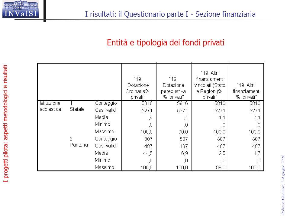 I progetti pilota: aspetti metodologici e risultati Roberto Melchiori, 3-4 giugno 2004 I risultati: il Questionario parte I - Sezione finanziaria Entità e tipologia dei fondi privati