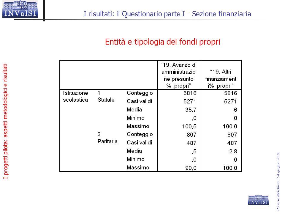 I progetti pilota: aspetti metodologici e risultati Roberto Melchiori, 3-4 giugno 2004 I risultati: il Questionario parte I - Sezione finanziaria Entità e tipologia dei fondi propri