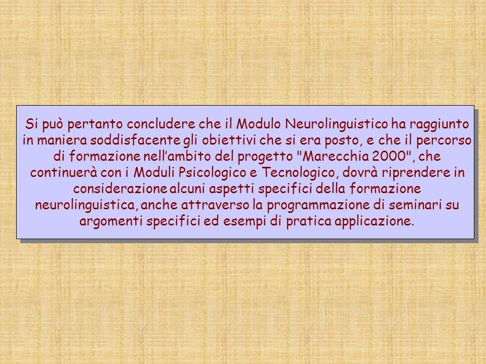 Si può pertanto concludere che il Modulo Neurolinguistico ha raggiunto in maniera soddisfacente gli obiettivi che si era posto, e che il percorso di f