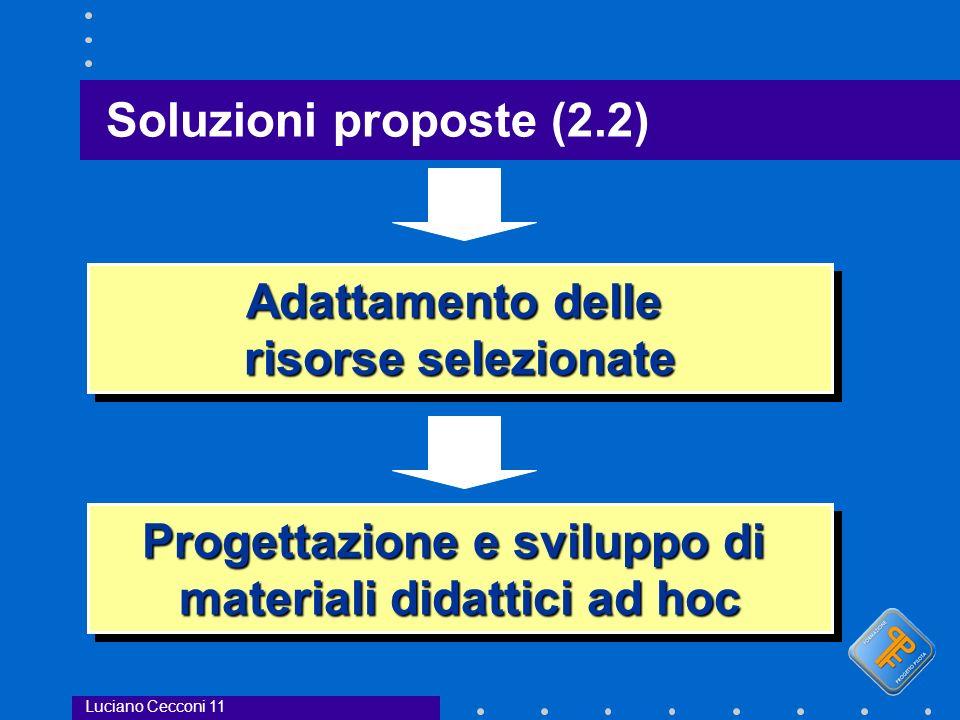 Soluzioni proposte (2.2) Luciano Cecconi 11 Adattamento delle risorse selezionate Adattamento delle risorse selezionate Progettazione e sviluppo di materiali didattici ad hoc Progettazione e sviluppo di materiali didattici ad hoc