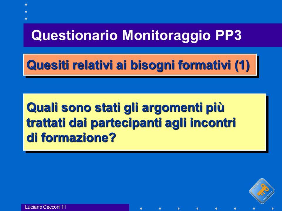 Questionario Monitoraggio PP3 Luciano Cecconi 11 Quesiti relativi ai bisogni formativi (1) Quali sono stati gli argomenti più trattati dai partecipanti agli incontri di formazione.