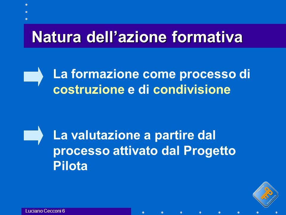 Natura dellazione formativa La formazione come processo di costruzione e di condivisione La valutazione a partire dal processo attivato dal Progetto Pilota Luciano Cecconi 6