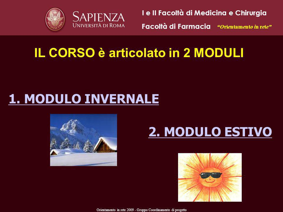 Orientamento in rete 2009 - Gruppo Coordinamento di progetto IL CORSO è articolato in 2 MODULI 2. MODULO ESTIVO 1. MODULO INVERNALE I e II Facoltà di