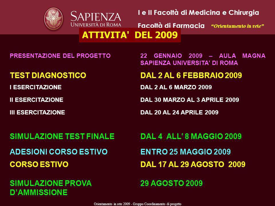 Orientamento in rete 2009 - Gruppo Coordinamento di progetto PRESENTAZIONE DEL PROGETTO22 GENNAIO 2009 – AULA MAGNA SAPIENZA UNIVERSITA DI ROMA TEST D