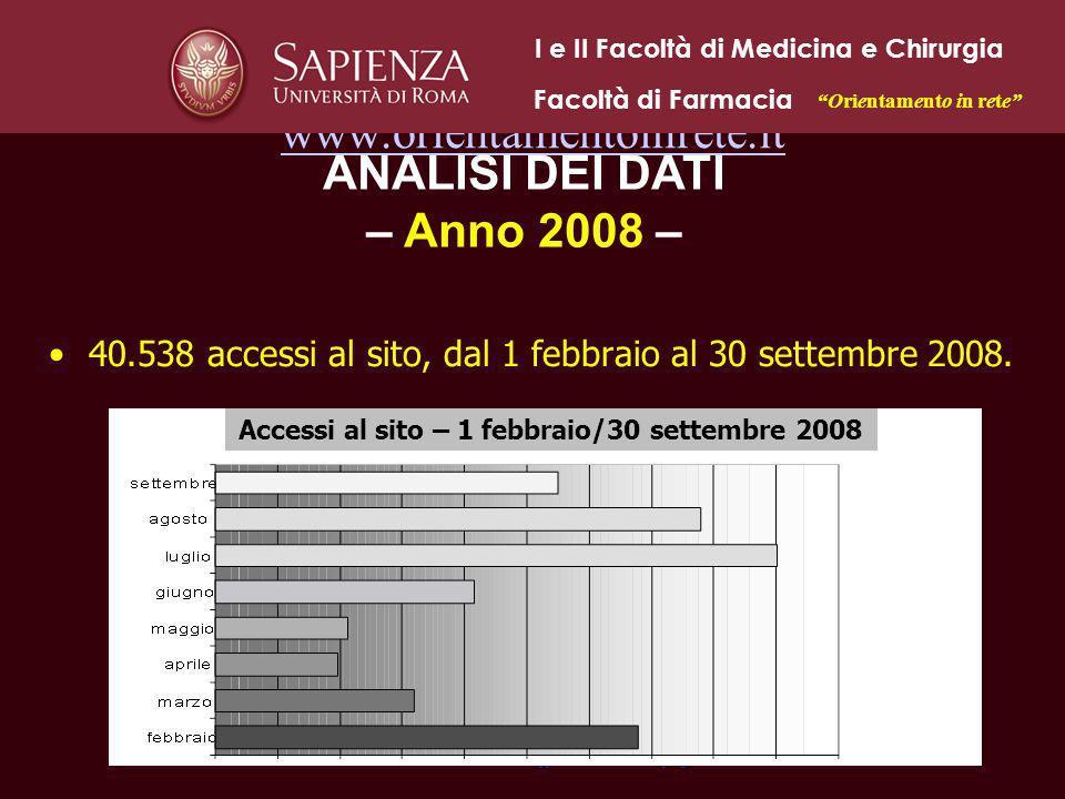 www.orientamentoinrete.it 40.538 accessi al sito, dal 1 febbraio al 30 settembre 2008. Orientamento in rete 2009 - Gruppo Coordinamento di progetto Ac