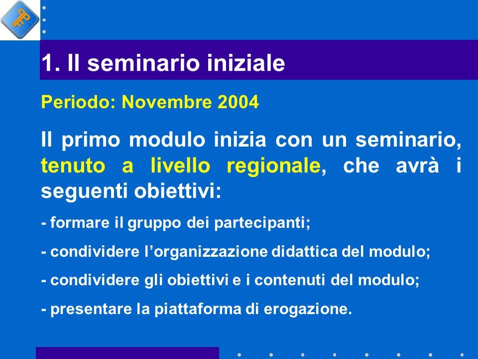 1. Il seminario iniziale Il primo modulo inizia con un seminario, tenuto a livello regionale, che avrà i seguenti obiettivi: - formare il gruppo dei p