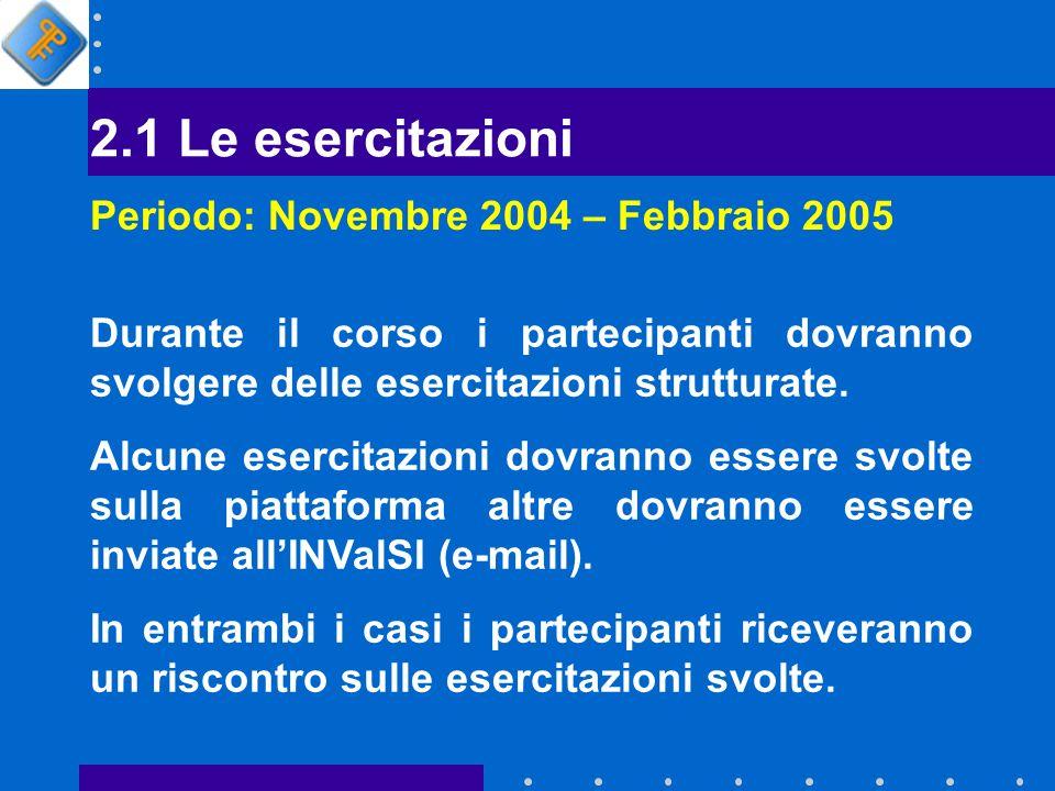 2.1 Le esercitazioni Periodo: Novembre 2004 – Febbraio 2005 Durante il corso i partecipanti dovranno svolgere delle esercitazioni strutturate.