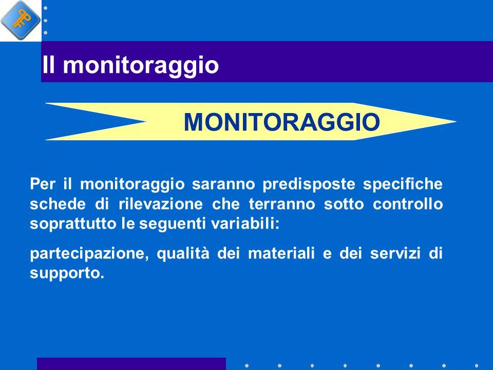 Il monitoraggio Per il monitoraggio saranno predisposte specifiche schede di rilevazione che terranno sotto controllo soprattutto le seguenti variabili: partecipazione, qualità dei materiali e dei servizi di supporto.