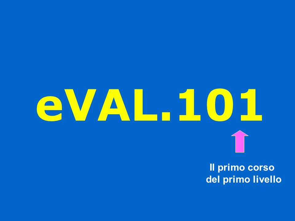 Scopi del progetto eVAL.101 Contribuire a diffondere la cultura della valutazione Offrire un servizio alla scuola dellautonomia Sviluppare le competenze tecniche degli operatori scolastici in campo valutativo Contribuire a creare le basi del Servizio Nazionale di Valutazione
