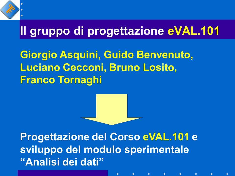 Il gruppo di progettazione eVAL.101 Giorgio Asquini, Guido Benvenuto, Luciano Cecconi, Bruno Losito, Franco Tornaghi Progettazione del Corso eVAL.101 e sviluppo del modulo sperimentale Analisi dei dati