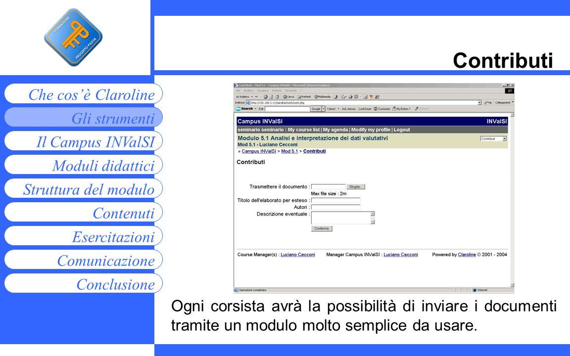 Moduli didattici Contenuti Esercitazioni Comunicazione Gli strumenti Che cosè Claroline Conclusione Struttura del modulo Il Campus INValSI Contributi