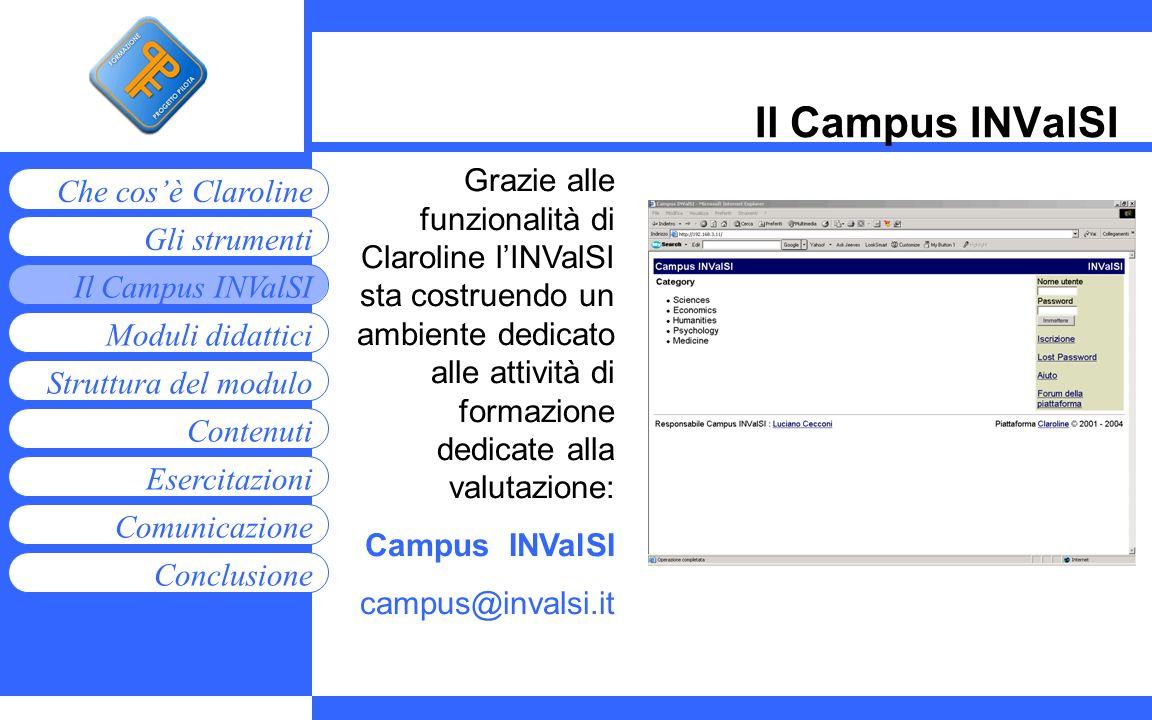 Moduli didattici Contenuti Esercitazioni Comunicazione Gli strumenti Che cosè Claroline Conclusione Struttura del modulo Il Campus INValSI Grazie alle