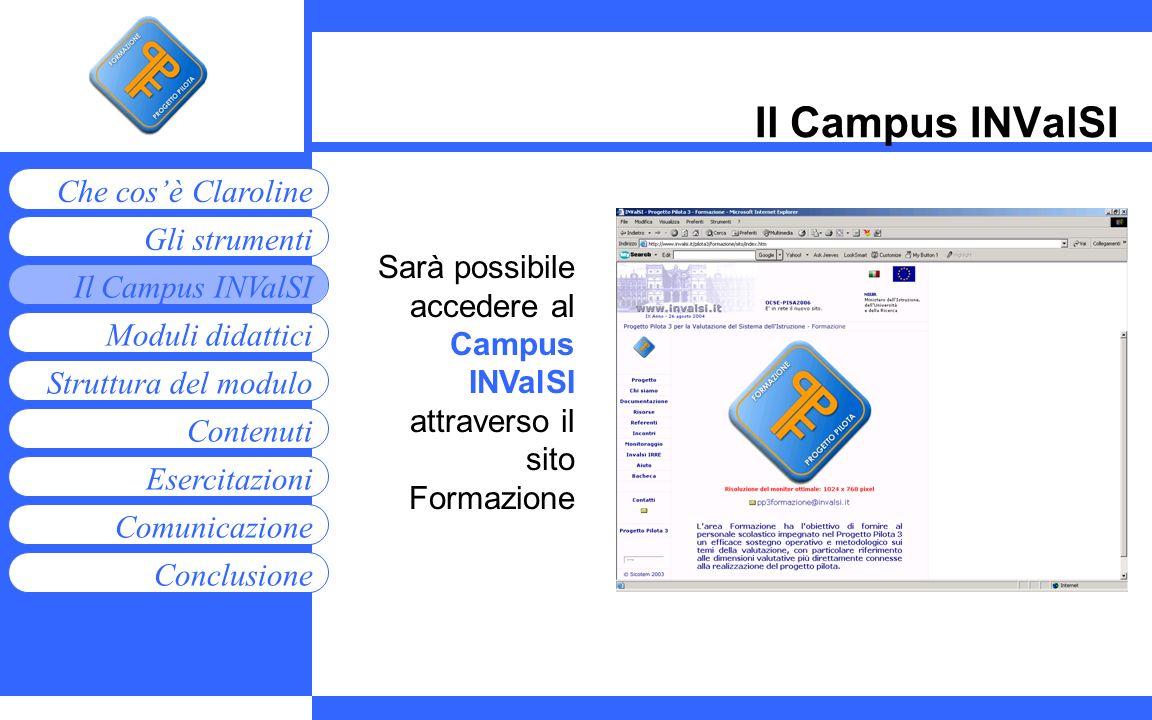 Moduli didattici Contenuti Esercitazioni Comunicazione Gli strumenti Che cosè Claroline Conclusione Struttura del modulo Il Campus INValSI Sarà possib