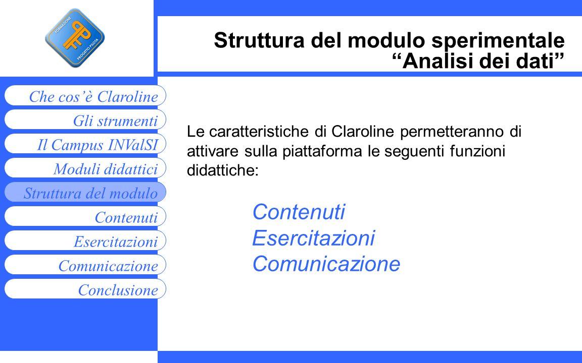 Moduli didattici Contenuti Esercitazioni Comunicazione Gli strumenti Che cosè Claroline Conclusione Struttura del modulo Il Campus INValSI Struttura d