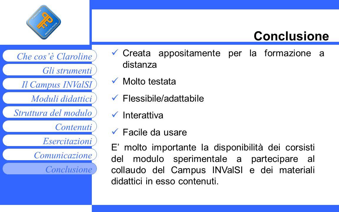 Moduli didattici Contenuti Esercitazioni Comunicazione Gli strumenti Che cosè Claroline Conclusione Struttura del modulo Il Campus INValSI Conclusione
