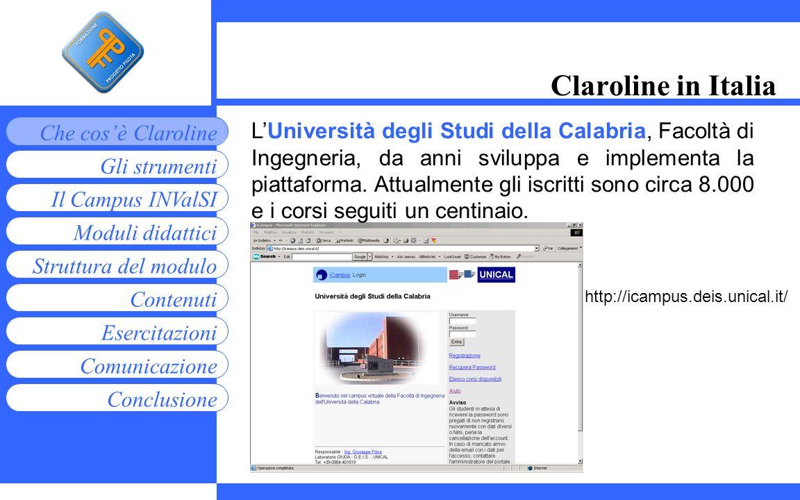 Moduli didattici Contenuti Esercitazioni Comunicazione Gli strumenti Che cosè Claroline Conclusione Struttura del modulo Il Campus INValSI Claroline i